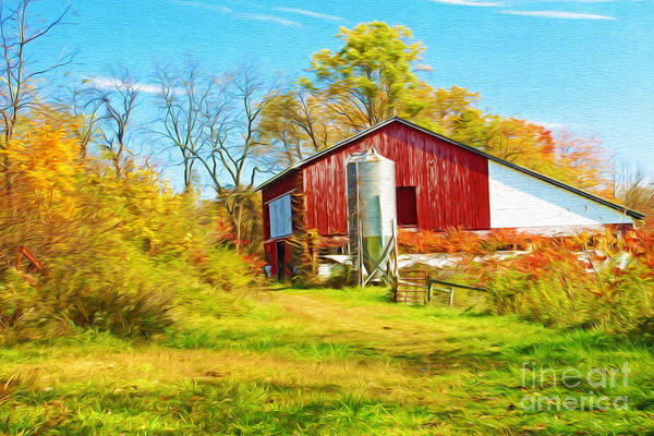 Pennsylvania Barn Photograph - Red Barn In Autumn by Laura D Young