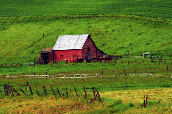 Brown County Photograph - Red Barn In The Palouse, Whitman by Michel Hersen