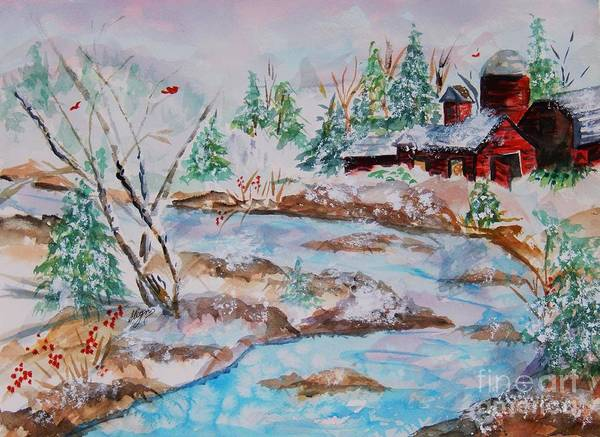 Barn Snow Painting - Red Barn In Winter by Ellen Levinson