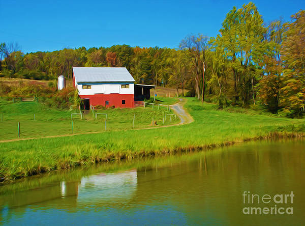 Pennsylvania Barn Photograph - Red Barn On Pond by Laura D Young