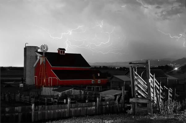 Photograph - Red Barn On The Farm And Lightning Thunderstorm Bwsc by James BO Insogna