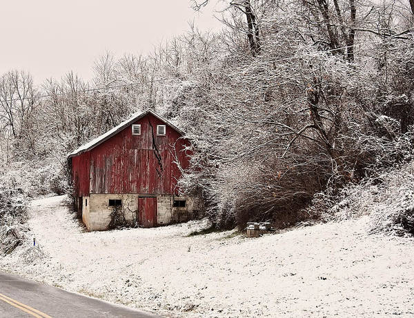 Digital Art - red barn West Virginia by Chris Flees