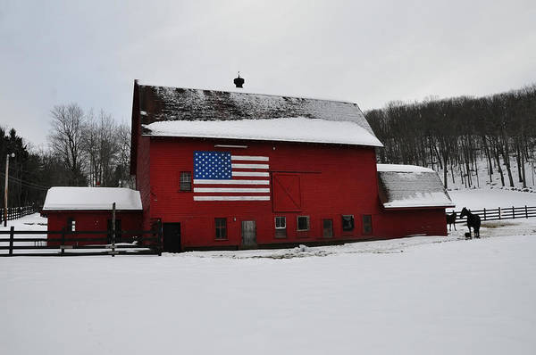 Barn Snow Digital Art - Red Barn With Flag In The Snow by Bill Cannon