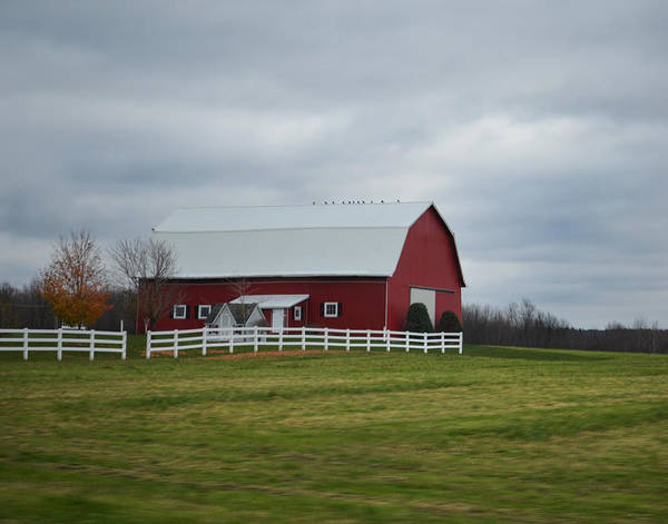 Photograph - Red Barn With White Fence by Maggy Marsh
