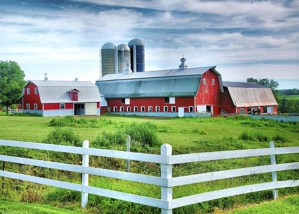 Farmstead Photograph - Red Barns And White Fence by Steven Ainsworth