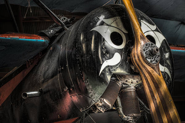Radial Engine Photograph - Replica Of Lieutenant Werner Voss's Fokker F.1 Triplane - Vintage Aircraft by Gary Heller