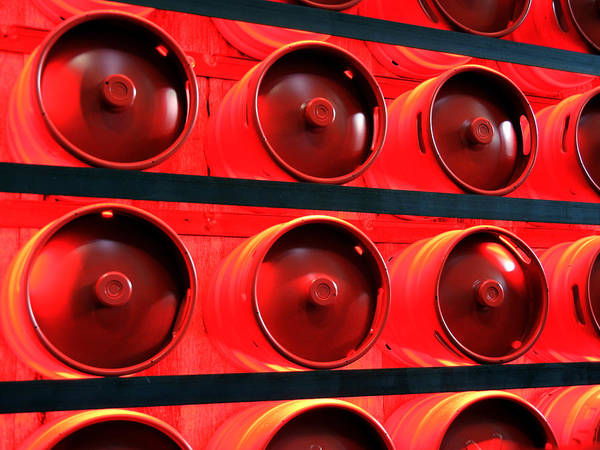 Photograph - Red Beer Kegs by Bill Swartwout Photography