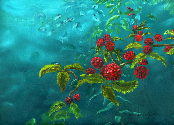 Painting - Red Berries In Blue Green Painting by Lenora  De Lude