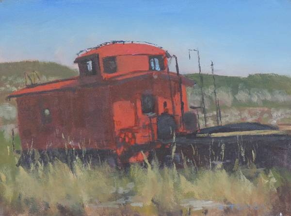 Red Caboose Painting - Red - Art By Bill Tomsa by Bill Tomsa