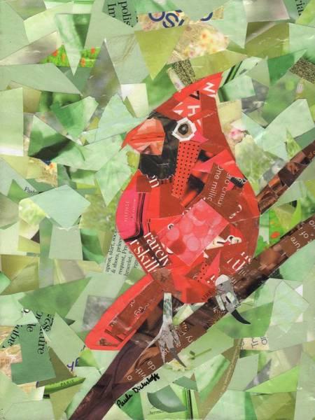 Red Cardinal Drawing - Red Bird by Paula Dickerhoff