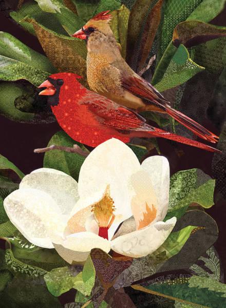 Southern Charm Digital Art - Red Birds In Magnolia by Robin Morgan