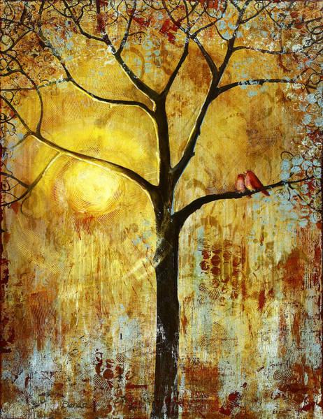 Wall Art - Painting - Red Birds Tree 3 by Blenda Studio