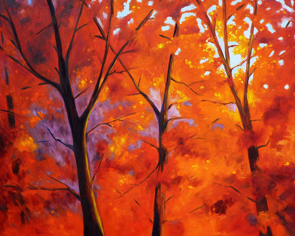 Wall Art - Painting - Red Blaze by Nancy Merkle