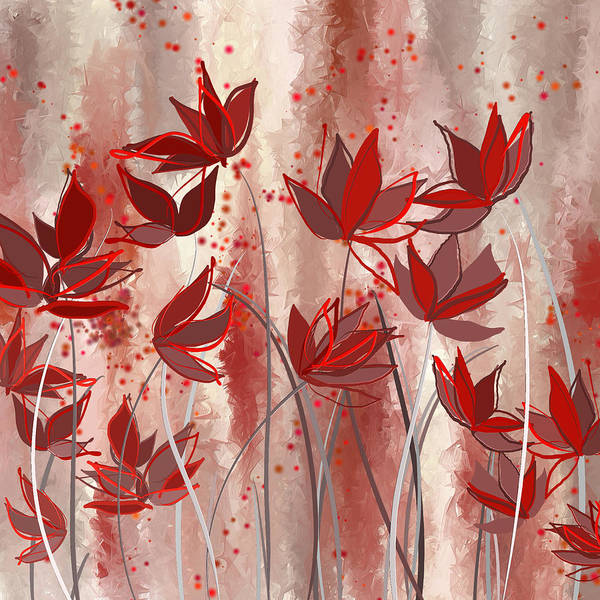 Painting - Red Blossoms- Marsala Art by Lourry Legarde