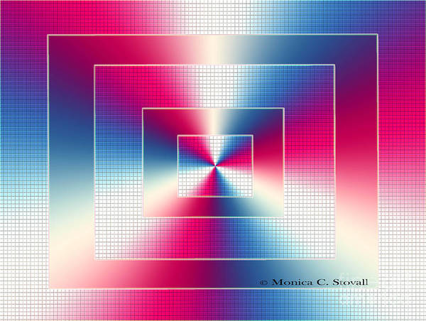 Digital Art - Red Blue White Color Design Collection by Monica C Stovall
