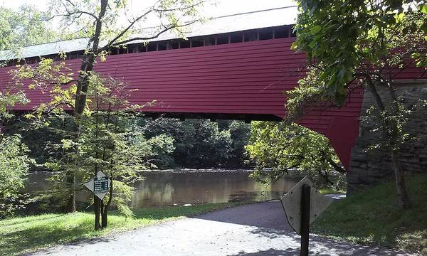 Tulpehocken Creek Photograph - Red Bridge At Gring's Mill by Lesley Wood