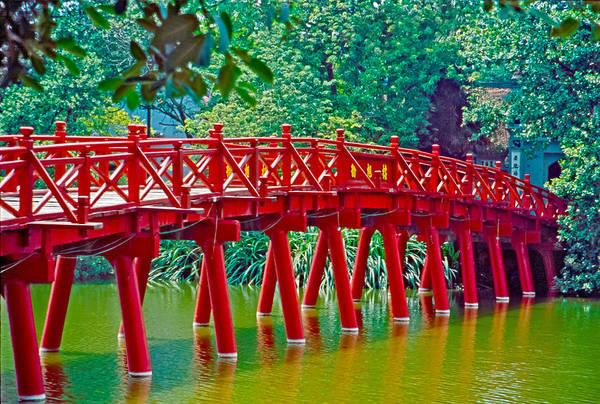 Red Bridge In Hanoi Vietnam Art Print