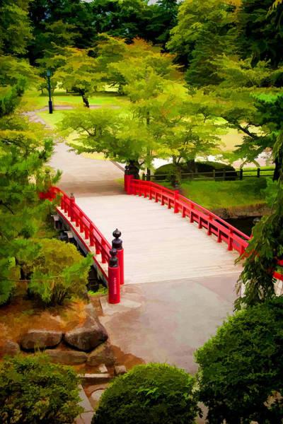 Wall Art - Photograph - Red Bridge In Hirosaki Park Japan by David Smith
