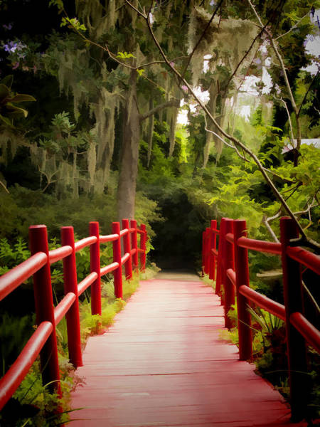 Wall Art - Photograph - Red Bridge In Southern Plantation by David Smith