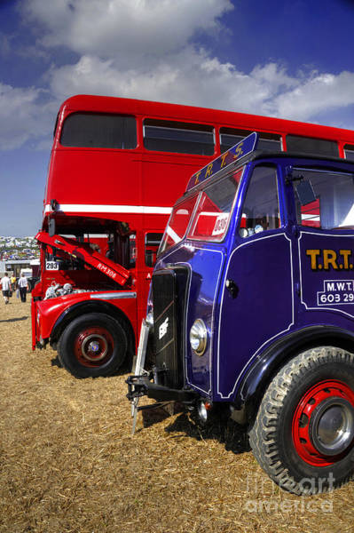 Wall Art - Photograph - Red Bus Blue Lorry by Rob Hawkins
