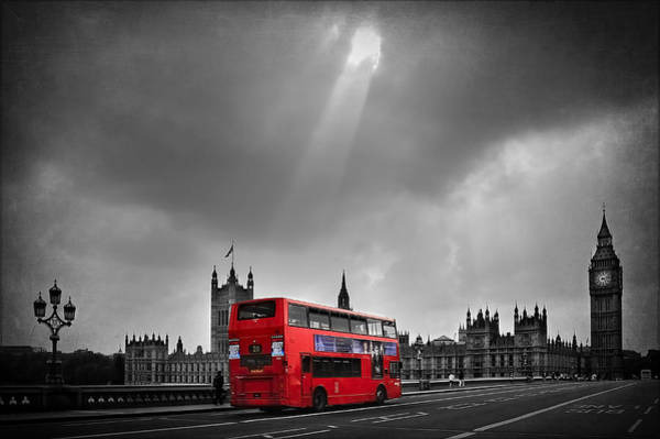 Westminster Bridge Photograph - Red Bus by Svetlana Sewell