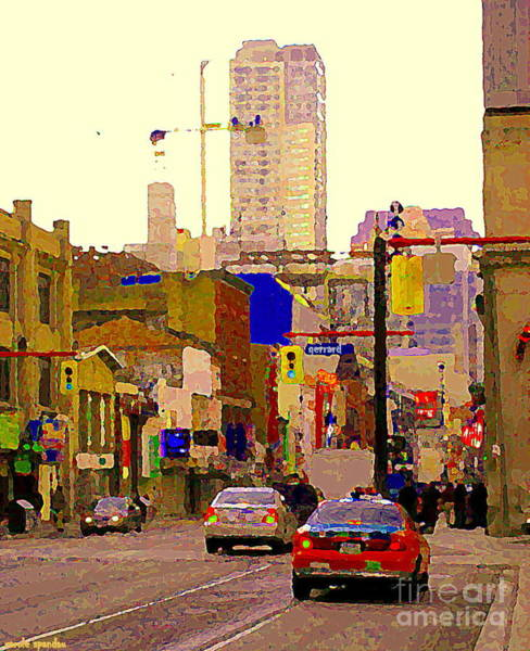 Painting - Red Cab On Gerrard Chinatown Morning Toronto City Scape Paintings Canadian Urban Art Carole Spandau by Carole Spandau