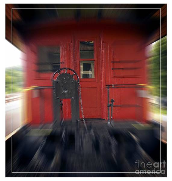 Railway Station Photograph - Red Caboose by Edward Fielding