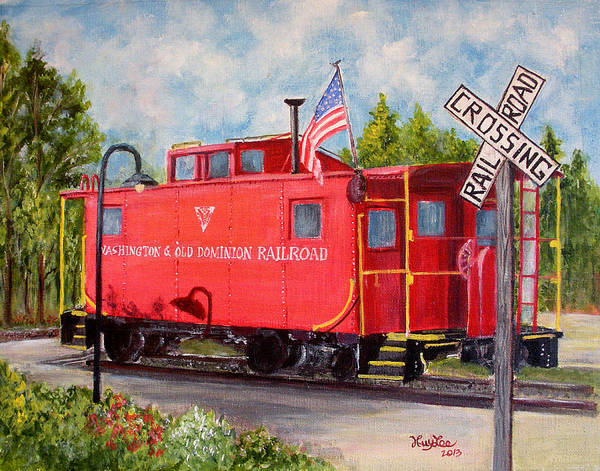 Red Caboose Painting - Red Caboose by Huy Lee