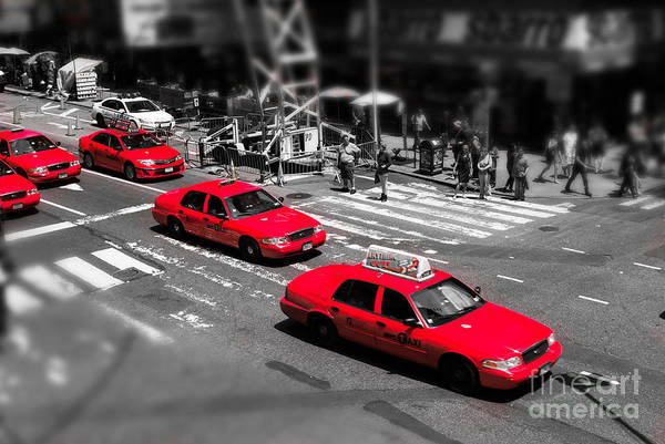 Photograph - Red Cabs On Time Square by Hannes Cmarits