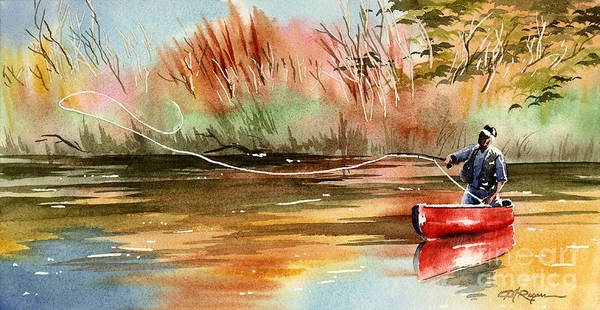 Trout Watercolor Wall Art - Painting - Red Canoe by David Rogers