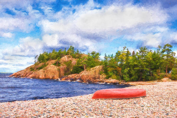 Photograph - Red Canoe On Pebble Beach - Painterly by Les Palenik
