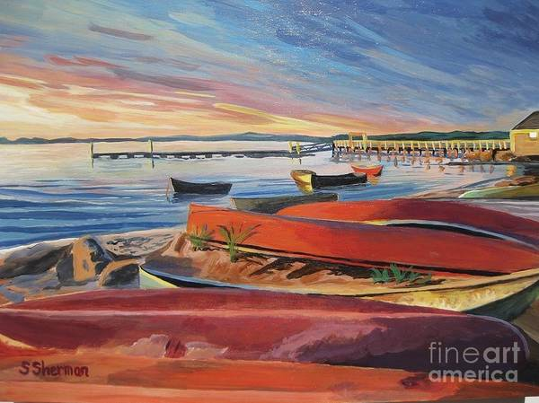Painting - Red Canoe Sunset by Stella Sherman