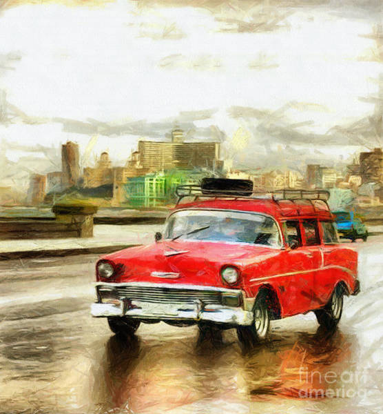 Mixed Media - Red Car Drawing by Daliana Pacuraru