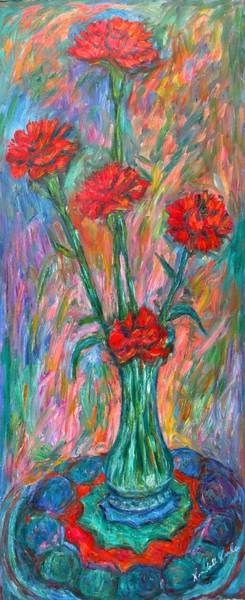 Painting - Red Carnation Melody by Kendall Kessler
