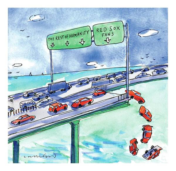Wall Art - Drawing - Red Cars Drop Off A Bridge Under A Sign That Says by Michael Crawford