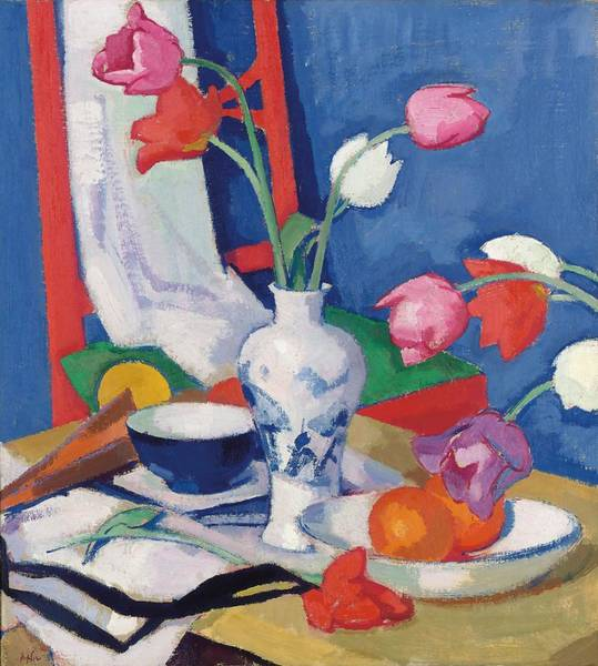 Object Painting - Red Chair And Tulips, C.1919 by Samuel John Peploe