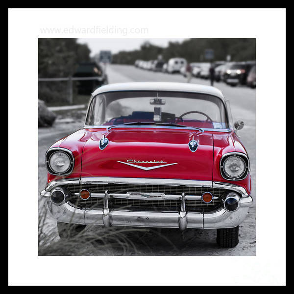 Photograph - Red Chevy Bel Aire Original Signed Mini by Edward Fielding