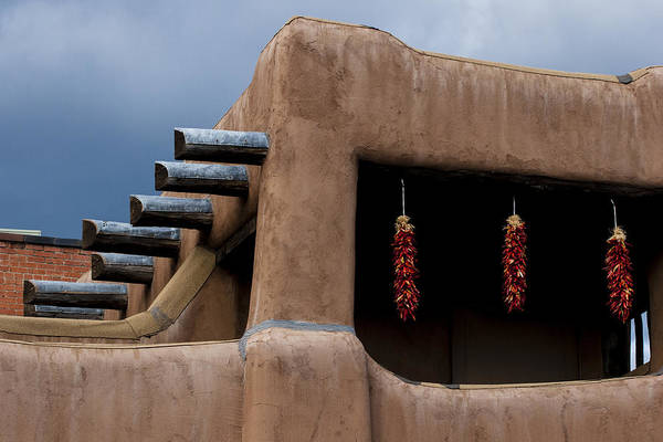Plaza Photograph - Red Chile Ristras Santa Fe by Carol Leigh