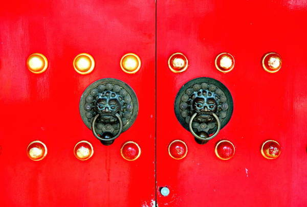 Photograph - Red Chinese Door In Hong Kong by Songquan Deng