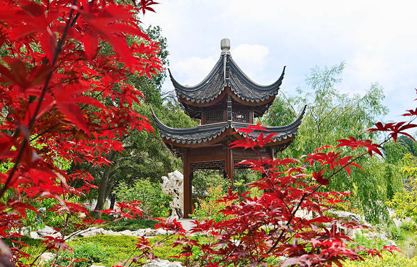 Asian Wall Art - Photograph - Red - Chinese Garden With Pagoda And Lake. by Jamie Pham