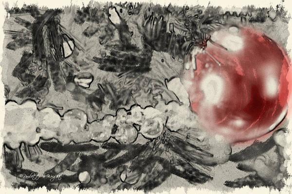 Digital Art - Red Christmas Ball by Paulette B Wright
