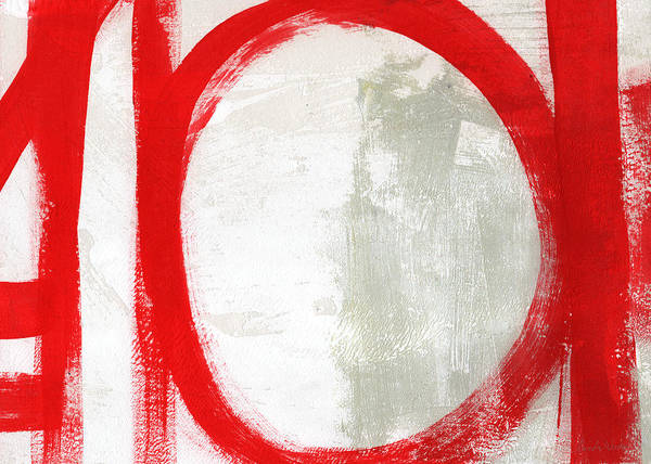 Brush Stroke Wall Art - Painting - Red Circle 3- Abstract Painting by Linda Woods
