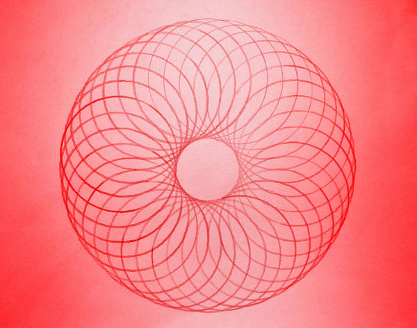 Drafting Photograph - Red Circle Abstract by Tom Druin