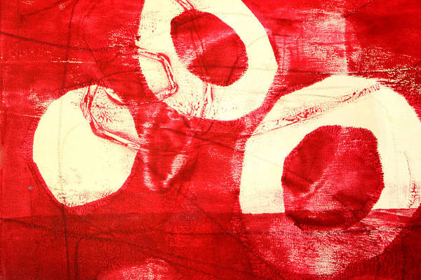 Monochromatic Painting - Red Circles Abstract by Nancy Merkle