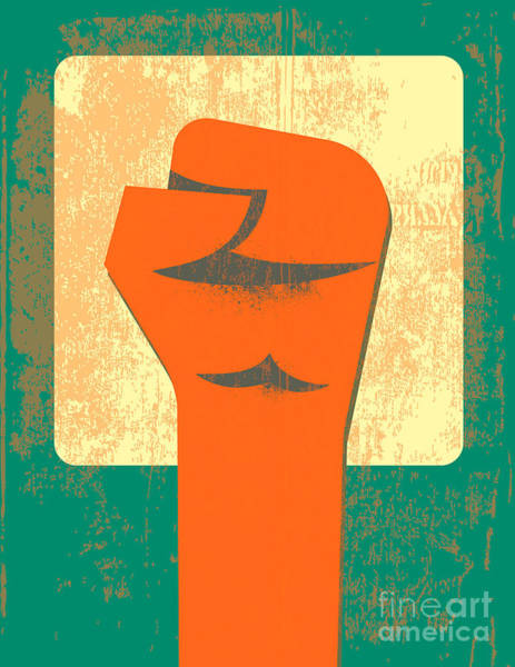 Political Wall Art - Digital Art - Red Clenched Fist Retro Poster by File404