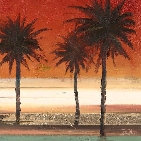 Coastal Digital Art - Red Coastal Palms II by Patricia Pinto