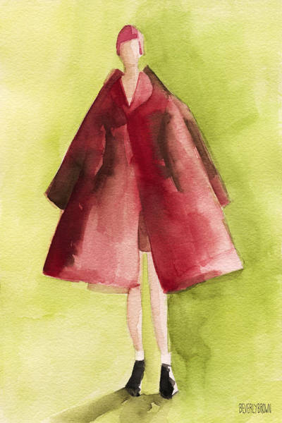 Painting - Red Coat - Watercolor Fashion Illustration by Beverly Brown