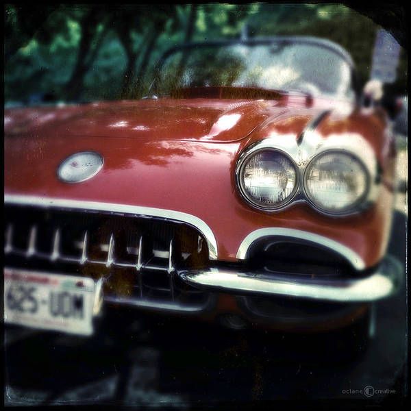 Photograph - Red Corvette With Trees by Tim Nyberg