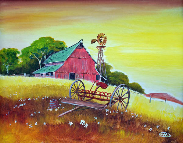 Painting - Red Country Barn And Field by Chris McCullough