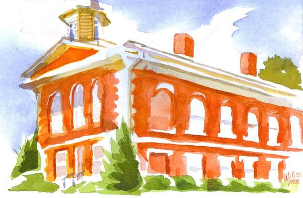 Painting - Red Courthouse With Evergreen by Kip DeVore